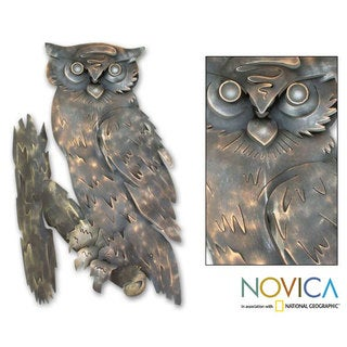 'Curious Owl' Iron Wall Adornment (Mexico)