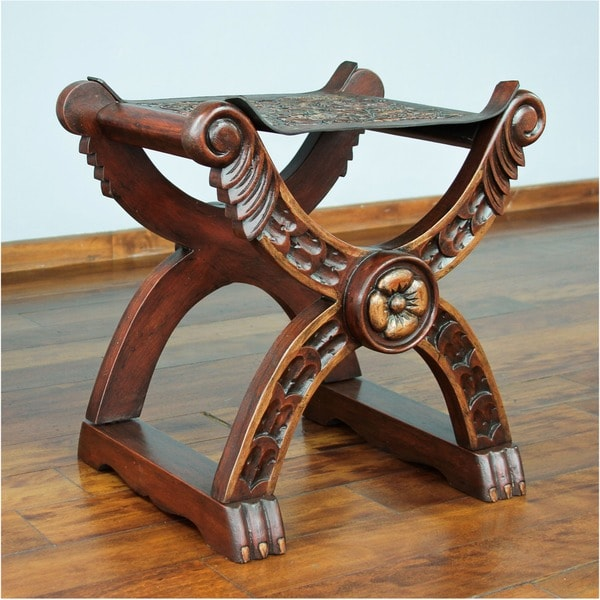 Unique Baroque Peru Richly Carved Claw Foot Brown Hand Tooled Leather and Wood Decorator Accent Stool (Peru)