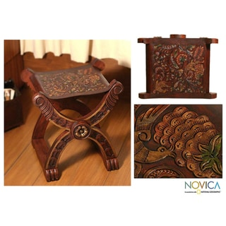 Tooled Leather Wood Stool, 'Baroque Peru' (Peru)
