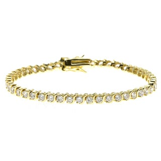 Simon Frank 4.62ct. 14K Yellow Gold Overlay CZ Diamoness Bracelet