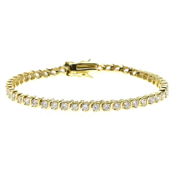 Simon Frank 4.62ct. 14K Yellow Gold Overlay CZ Diamoness Bracelet