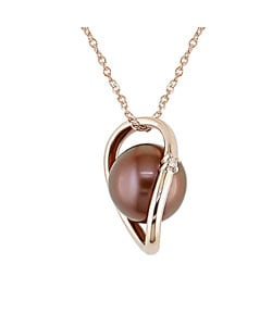 Miadora 14k Pink Gold Brown FW Pearl and Diamond Necklace (8 mm)
