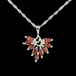 Gemstone Leaf Silver Necklace (China)