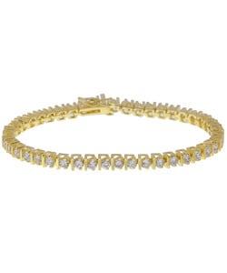 Simon Frank 14K Yellow Gold Overlay CZ Diamoness Tennis Bracelet