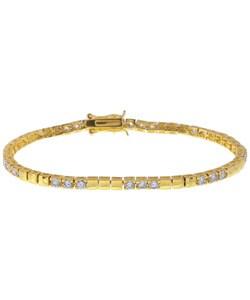 Simon Frank 14k Gold Overlay CZ Diamoness Tennis Bracelet