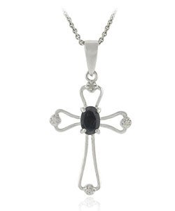 Glitzy Rocks Sterling Silver Sapphire Diamond Cross Necklace