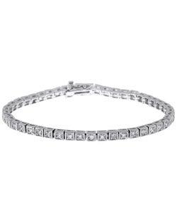Simon Frank 14k White Gold Overlay CZ Diamoness Line Bracelet