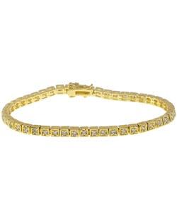 Simon Frank 14k Yellow Gold Overlay CZ Diamoness Line Bracelet