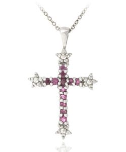 Glitzy Rocks Sterling Silver Diamond Accent Ruby Cross Necklace