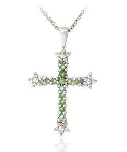 Glitzy Rocks Sterling Silver Emerald Diamond Accent Cross Necklace