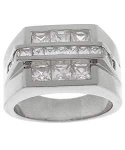 Simon Frank 14k White Gold Overlay Men's Bridge CZ Ring