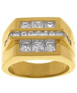 Simon Frank 14k Gold Overlay Bridge Diamond Simulant CZ Ring