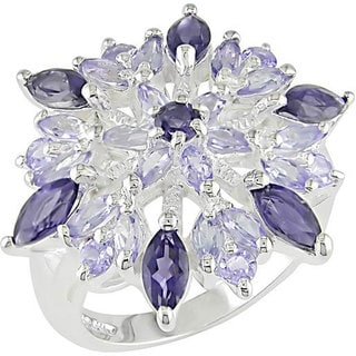 Miadora Sterling Silver Iolite and Tanzanite Ring