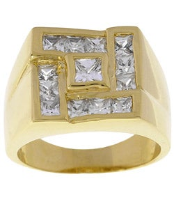 Simon Frank 14k Yellow Gold Overlay Men's Square CZ Ring