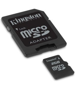 Kingston 2GB Micro SD Memory Card w/ SD Adapter