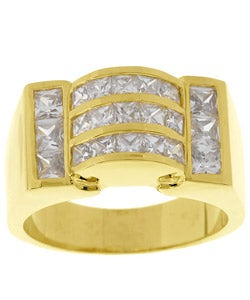 Simon Frank 14k Gold Overlay Wave CZ Ring