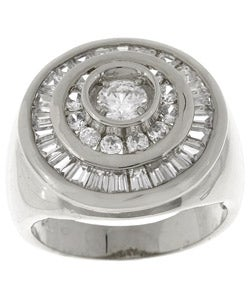 Simon Frank 14k White Gold Overlay Men's Swirl CZ Ring