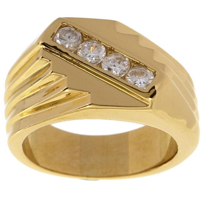 Simon Frank 14k Gold Men's Saver CZ Ring