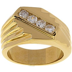 Simon Frank 14k Gold Men's Saver Diamond Simulant CZ Ring
