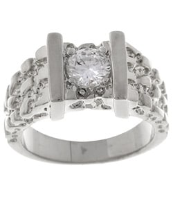 Simon Frank 14k White Gold Overlay Men's Nugget CZ Ring