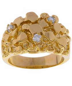 Simon Frank 14k Yellow Gold Overlay Men's Nugget CZ Ring