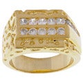 Simon Frank 14k Yellow Gold Overlay Men's CZ Ring