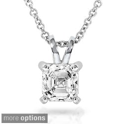Annello 14k White Gold Asscher Solitaire Diamond Necklace (H-I, SI1-SI2)