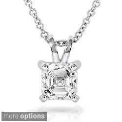 Annello 14k White Gold Asscher Solitaire Diamond Necklace (H-I, SI1-SI2) with Bonus Item