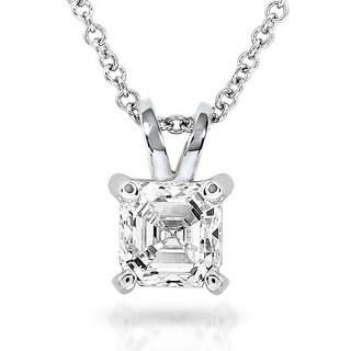 Annello 14k White Gold Asscher Solitaire Diamond Necklace (H-I, SI1-SI2)