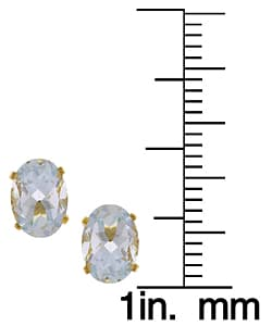 Kabella 14k Yellow Gold Oval Aquamarine Stud Earrings
