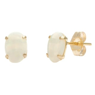 Kabella 14k Yellow Gold Opal Oval Stud Earrings