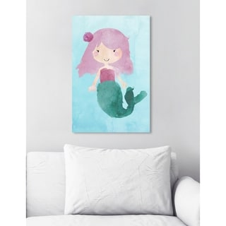 Oliver Gal 'Tiny Mermaid Watercolor' Fantasy and Sci-Fi Wall Art Canvas Print - Blue, Purple