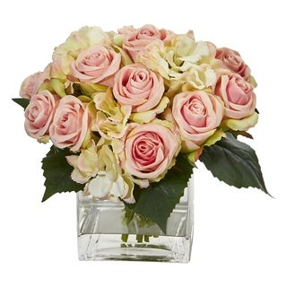 Nearly Natural Rose and Hydrangea Bouquet Artificial Arrangement in Glass Vase
