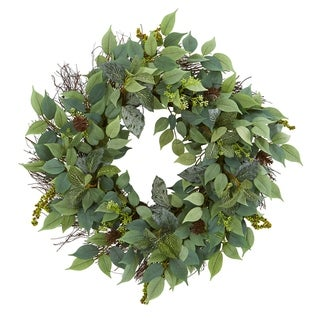 """23"""" Mix Royal Ruscus, Fittonia and Berries Artificial Wreath"""