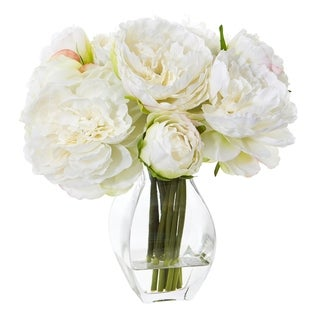 Nearly Natural Green/White Artificial Peony Arrangement in Clear Glass Vase