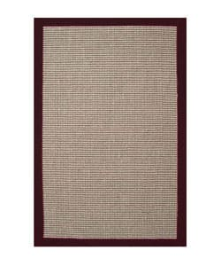 Hand-woven Sisal Cherry Brown Border Rug (5' x 8')