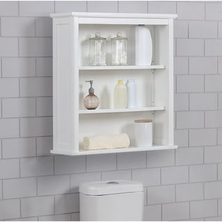 Porch & Den Everest Wall-mounted 27 x 29 Bath Storage Cabinet with 2 Open Shelves