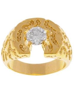 Simon Frank 14k Yellow Gold Overlay Men's Solitaire CZ Ring