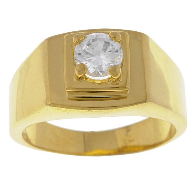Simon Frank 14k Gold Overlay Men's Diamond Simulant CZ Ring
