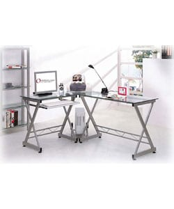 Deluxe Tempered Glass L-shaped Computer Desk