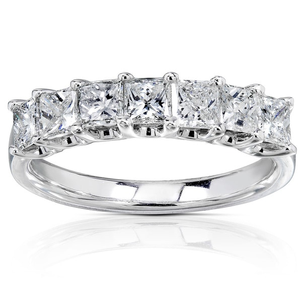 Annello 14k White Gold 1ct TDW Princess-cut Diamond Band (H-I, I1-I2)