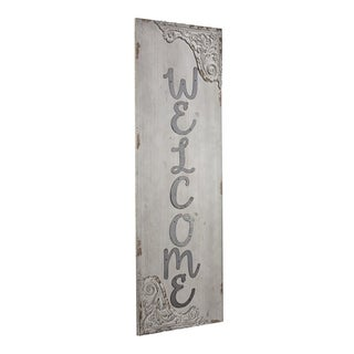 American Art Decor Welcome Wood and Metal Vintage Sign
