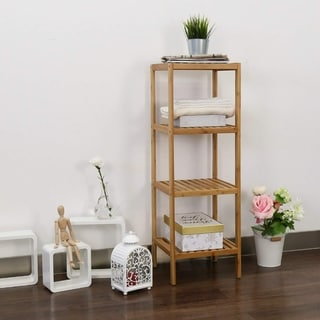 Kinbor 4-Tier Bamboo Bathroom Shelf Towel Rack Storage Shelving