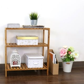 Kinbor 3-Tier Bamboo Bathroom Shelf Plant Flower Stand Tower Rack