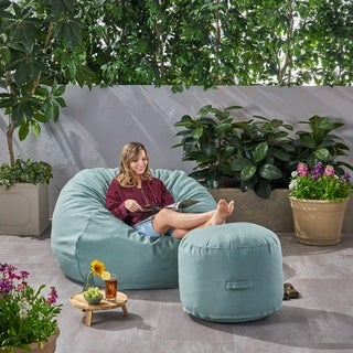 Rosalie Bay Outdoor 4.5' Bean Bag and 2' Ottoman Pouf Set by Christopher Knight Home