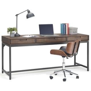 WYNDENHALL Devlin SOLID HARDWOOD Modern Industrial 72 inch Wide Wide Desk in Walnut Brown
