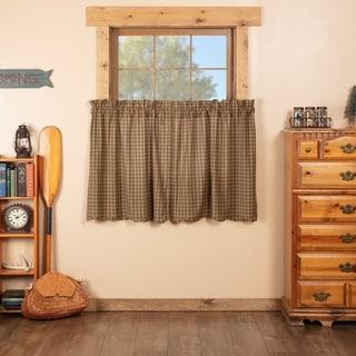 Green Rustic Kitchen Curtains VHC Cedar Ridge Tier Pair Rod Pocket Cotton Plaid