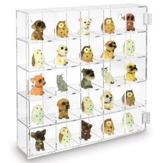 Mountable 25 Compartments Display Case w/ Mirrored Back