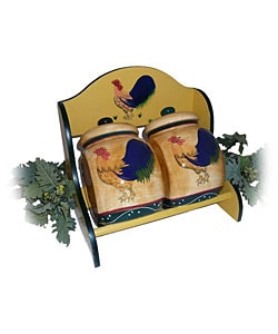 Classic Rooster 2-piece Storage Jar with Rack