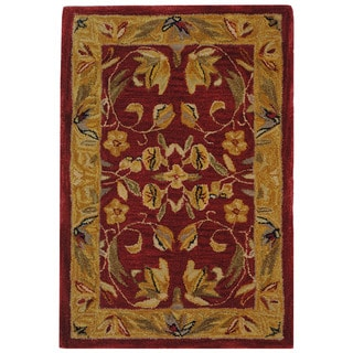 Handmade Hereditary Burgundy/ Gold Wool Rug (2' x 3')